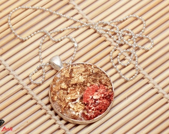 Round druzy resin pendant with copper and gold leafs on a ball chain necklace