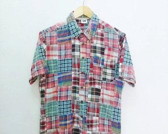 Hot Sale!!! Rare Vintage PATCHWORK Multicolour Button Down Shirt Medium Size