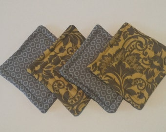 Fabric Coasters Set of 4 - Yellow and Grey