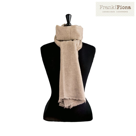 100% Pure Organic Cashmere Shawl, Christmas gift, Grade A Mongolian Cashmere, 28 x 80 inches,Light Brown,Thick knitted Scarf,Eco Friendly,4T