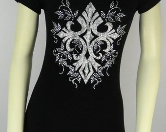 Silver Cross Rhinestone Fitted Tee