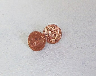 Round Floral Design Copper Precious Metal Clay Stud Earrings