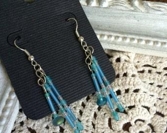 Beaded Blue Dangle  Earrings