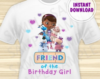Doc McStuffins Friend of the Birthday Girl. Doc McStuffins Birthday Iron On Transfer. Doc McStuffins Birthday Shirt. DIGITAL FILE.