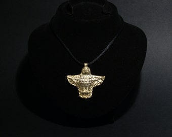 Jewelry-Gold plated on silver-gift-unique-handmade-accessories-Archaic eagle necklace