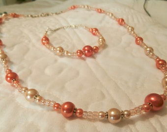 "22"" to 23"" Red-Orange, Champagne, Silver Necklace / 6.5"" to 7.75"" Red-Orange, Champagne, Silver Bracelet"