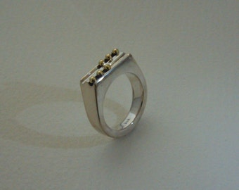 Ring from 925 sterling silver 6 585 gold balls