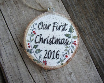 Our First Christmas Ornament, Newlywed Ornament, Wedding Gift, Rustic Wedding Wood Ornament, Mr Mrs Ornament, Couples Ornament,