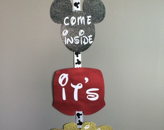 Mickey Mouse Birthday, Mickey Mouse Sign, Come Inside it's Fun Inside