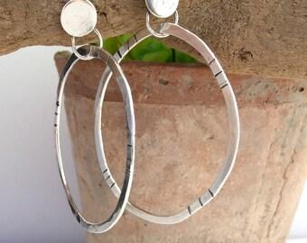 Sterling Silver Post Earrings, Silver Hoop Earrings, Post Earrings, Large Hoop Earrings, Argentium Silver Earrings, Item #1016