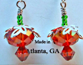 Swarovski Crystal Pomegranate Drop Earrings