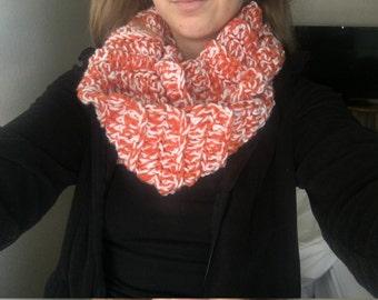 Pumpkin orange/White crochet infinity scarf