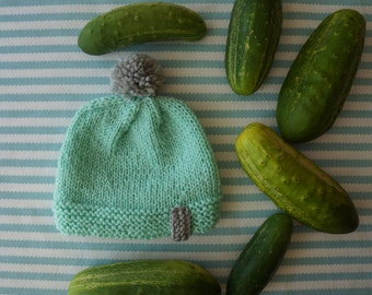 Hand knitted mint & gray merino wool hat for 6-9 months old baby