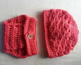 Baby Girl's Hat & Diaper Cover