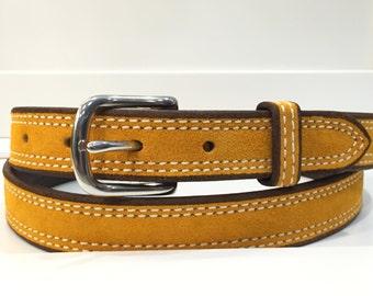 Gold Suede Belt, Gold Leather Belt, Gold Belt, Mustard Suede Belt, Mustard Leather Belt, Mustard Belt, Yellow Suede Belt, Yellow Belt,