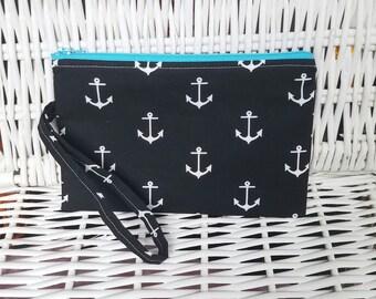 Black anchor wristlet with zipper