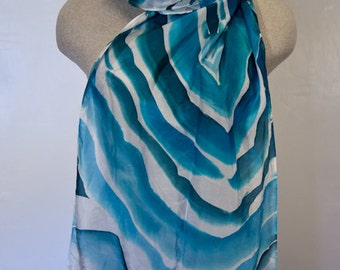 Blue Agate Hand-painted Silk Scarf
