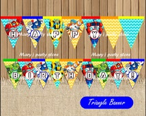 Rescue Bots Banner, Transformers Rescue Bots Triangle Banner instant download, Printable Rescue Bots party Banner