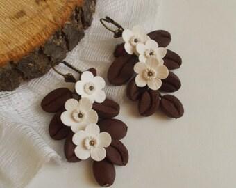 Coffe flower earrings, wild flowers, cute earrings, stylish earrings, handmade, gift earrings
