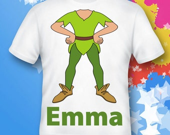 peter pan  Cotton Tee Shirts Personalized - Birthday T-Shirt Party Favor - peter pan costume - shirt costume