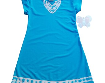 Just because aline dress,  in oh soo bright blue- girls