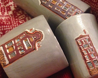 "ceramic glasses ""winter Amsterdam"""