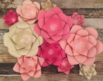 Pink Ombre KIT- 11 flower combo, Paper Flowers, Paper Flower Backdrop, Wedding Backdrop, Photobooth backdrop, Wedding decor, baby nursery