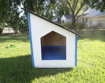 Blue/White Handmade Dog House