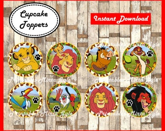 The Lion King cupcakes toppers, printable The Lion King party toppers, The Lion King cupcakes toppers