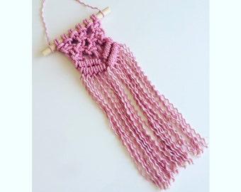 Mini Macrame Pink Wall Hanging
