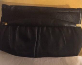 Vintage Black Soft Leatger Clutch