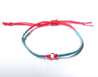 Braided bracelet sky blue and coral with small ring