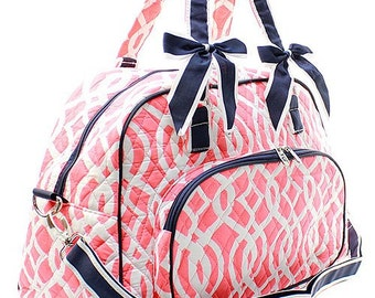 40% OFF - PERSONALIZED / MONOGRAMMED Vine Quilted Duffel Bag