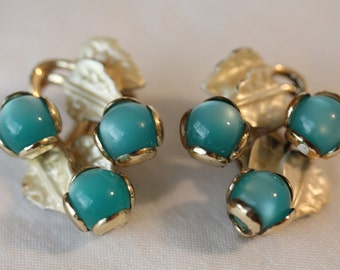 Aqua Blue Moonglow Lucite Gold Tone Clip On Earrings, Unsigned, 1950s