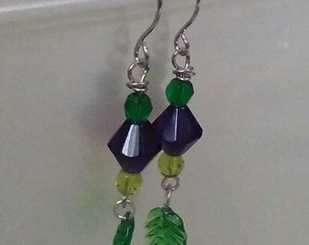 Blue Bead with Green Leaf Earrings