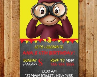 Curious George Birthday Invitation PARTY