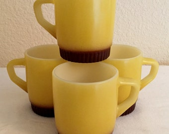 Vintage Fire King Yellow/Brown Stacking Glass Mugs Cups