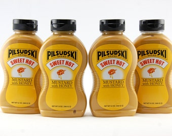 Pilsudski Sweet Hot Mustard with Honey (4/12 oz squeeze bottles)