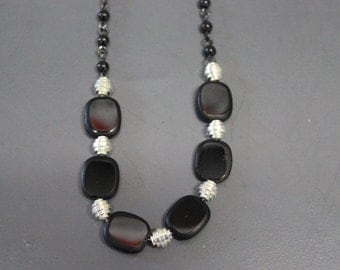 Simple Black and Silver Beaded Necklace