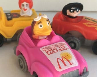 Pull back cars, McDonalds toys, Happy Meal toys, vintage