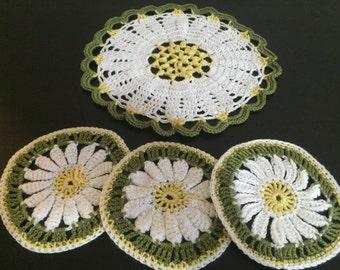 Crochet Chamomlie Cup Coasters, Kitchen Decor