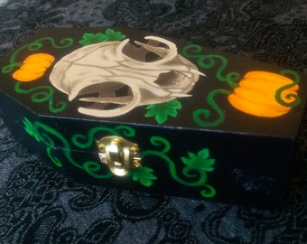 Coffin Keepsake Box with Cat Skull and Pumpkins Design