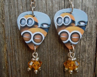 Three Minions Guitar Pick Earrings with Crystal Dangles
