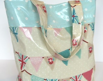 Large Oilcloth Tote/Beach Bag/Bunting/Dotty