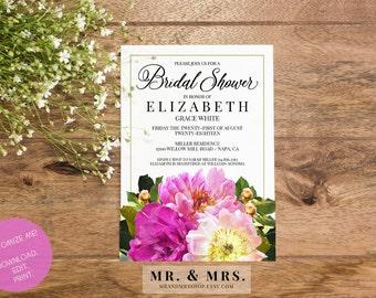 Bridal Shower Invitation | Customized Bridal Shower Invite | Instant Download DIY Editable Floral Flower Bridal Shower Invitation | MAM103