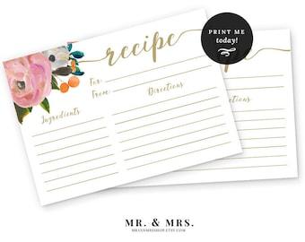 Recipe Card, Watercolor Floral Recipe Card, Bridal Shower Card, Printable, Bridal Shower Invitation Printable, Instant Download, MAM104_03