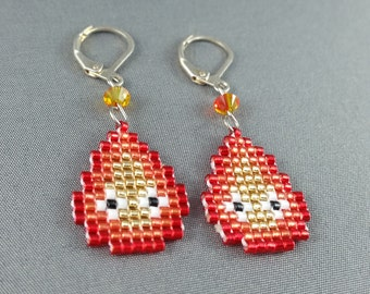Calcifer Earrings - Pixel Earrings Fire Earrings Pixel Jewelry Howl's Moving Castle Earrings Seed Bead Earrings Nerdy Earrings Nerdy Gift
