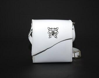 Handmade White Latigo Leather Handbag