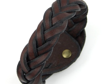 Hand Made Brown Leather Wrist Band Braided Leather Bracelet 5 Way Mystery Braid Large Wristband Traditional Tight Braid For Retro Look