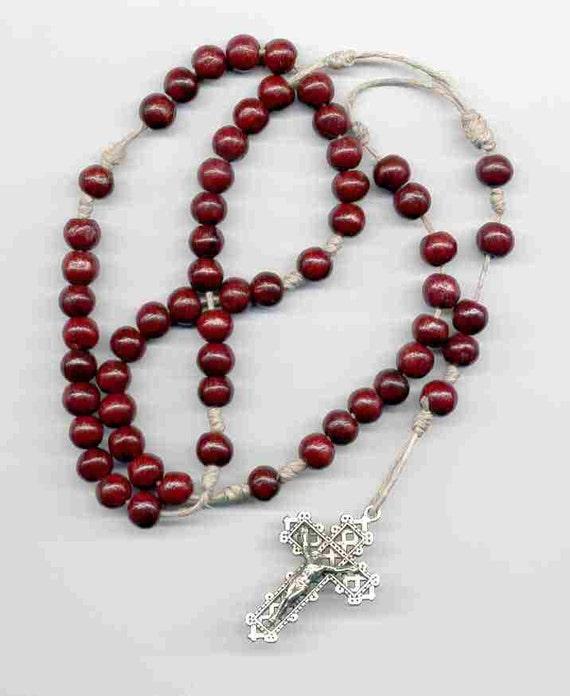 Dark Brown Wooden Beads Rosary on String, sku 10-1704db ...  |Brown Rosaries